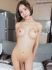 Busty ladyboy Natty is on a nice red dress with pure desire in her eyes. Now completely naked and aroused, watch her jack off that rock hard cock!
