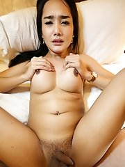 25 year old hot Thai ladyboy sucks and gets fucked by white cock