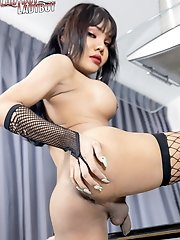 Ladyboy Roxanne has huge tits that are tipped with cute nipples, nice ass and a hard cock. Go watch her play...Now!